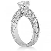 Vintage Heirloom Round Diamond Engagement Ring Platinum (1.00ct)