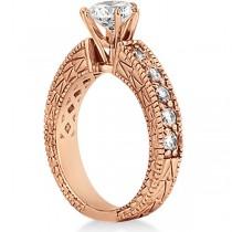 Vintage Heirloom Round Diamond Engagement Ring 18k Rose Gold (1.50ct)