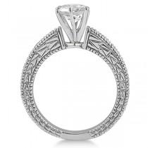 Vintage Heirloom Round Diamond Engagement Ring Platinum (1.50ct)
