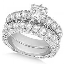 Princess-Cut Vintage Style Diamond Bridal Set 14k White Gold (2.66ct)