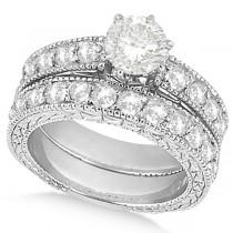 Antique Round Diamond Engagement Bridal Set 14k White Gold (2.66ct)
