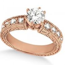 Antique Round Diamond Engagement Bridal Set 18k Rose Gold (2.66ct)