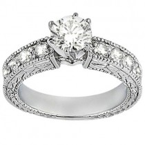 Antique Diamond Engagement Ring & Wedding Band 14k White Gold (1.70ct)