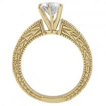 Antique Diamond Engagement Ring & Wedding Band 14k Yellow Gold (1.70ct)
