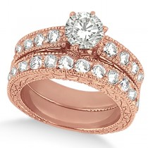 Antique Round Diamond Engagement Bridal Set 14k Rose Gold (3.41ct)