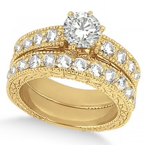 Antique Round Diamond Engagement Bridal Set 14k Yellow Gold (3.41ct)
