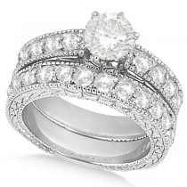 Antique Round Diamond Engagement Bridal Set 18k White Gold (3.41ct)