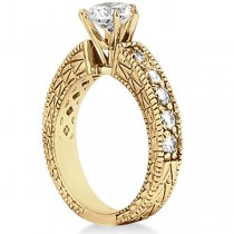 Antique Round Diamond Engagement Bridal Set 18k Yellow Gold (3.41ct)