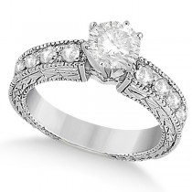 Antique Round Diamond Engagement Bridal Set 14k White Gold (4.41ct)