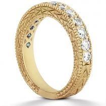 Antique Round Diamond Engagement Bridal Set 14k Yellow Gold (4.41ct)