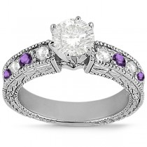 Antique Diamond & Amethyst Engagement Ring 18k White Gold (0.75ct)