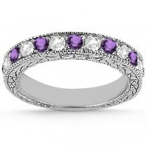 Antique Diamond & Amethyst Bridal Set 18k White Gold (1.80ct)