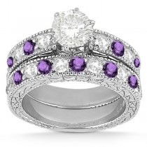 Antique Diamond & Amethyst Bridal Set Palladium (1.80ct)