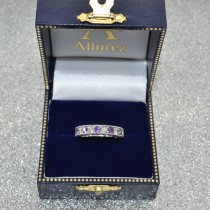 Antique Diamond & Amethyst Wedding Ring 14kt White Gold (1.05ct)