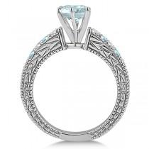 Diamond & Aquamarine Vintage Engagement Ring in 14k White Gold (1.75ct)