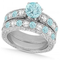 Diamond & Aquamarine Vintage Wedding Bridal Set in 18k White Gold (2.80ct)