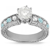Antique Diamond & Aquamarine Engagement Ring 14k White Gold (0.75ct)