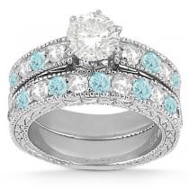 Antique Diamond & Aquamarine Bridal Set 18k White Gold (1.80ct)