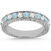 Antique Diamond & Aquamarine Bridal Set Palladium (1.80ct)