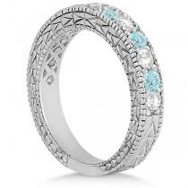 Antique Diamond & Aquamarine Bridal Set Platinum (1.80ct)