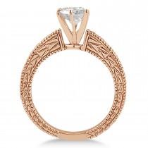 Antique Diamond & Lab Alexandrite Engagement Ring 14k Rose Gold (0.75ct)