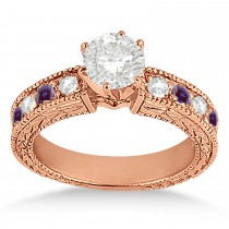 Antique Diamond & Lab Alexandrite Bridal Set 14k Rose Gold (1.80ct)