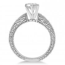 Antique Diamond & Lab Alexandrite Bridal Set 14k White Gold (1.80ct)