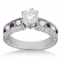Antique Diamond & Lab Alexandrite Bridal Set Platinum (1.80ct)