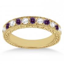 Antique Diamond & Lab Alexandrite Wedding Ring 14kt Yellow Gold (1.05ct)