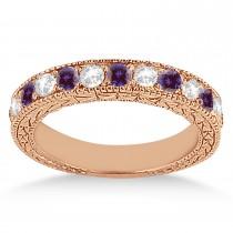 Antique Diamond & Lab Alexandrite Wedding Ring 18kt Rose Gold (1.05ct)