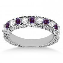 Antique Diamond & Lab Alexandrite Wedding Ring 18kt White Gold (1.05ct)