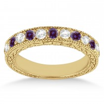 Antique Diamond & Lab Alexandrite Wedding Ring 18kt Yellow Gold (1.05ct)