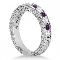 Antique Diamond & Lab Alexandrite Wedding Ring Platinum (1.05ct)