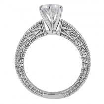 White & Blue Diamond Vintage Engagement Ring 14K White Gold 0.70ct