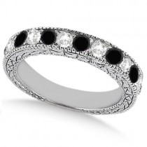Antique White & Black Diamond Wedding Ring Band 14k White Gold (1.05ct)