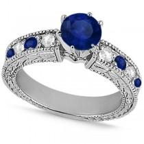 Diamond & Blue Sapphire Vintage Engagement Ring in 18k White Gold (1.75ct)