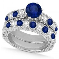 Diamond & Blue Sapphire Vintage Wedding Bridal Set in 18k White Gold (2.80ct)