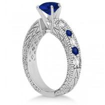 Diamond & Blue Sapphire Vintage Wedding Bridal Set in 18k White Gold (2.80ct)