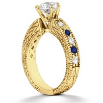 Antique Diamond & Blue Sapphire Engagement Ring 14k Yellow Gold (0.75ct)