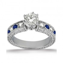 Antique Diamond & Blue Sapphire Engagement Ring 18k White Gold (0.75ct)