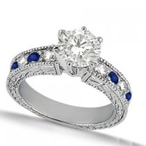 Blue Sapphire & Diamond Vintage Engagement Ring 14k White Gold 1.50ct