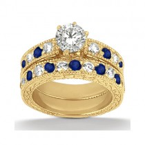 Antique Diamond & Blue Sapphire Bridal Set 14k Yellow Gold (1.80ct)