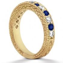 Antique Diamond & Blue Sapphire Bridal Set 14k Yellow Gold (1.80ct)