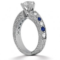 Antique Diamond & Blue Sapphire Bridal Set 18k White Gold (1.80ct)