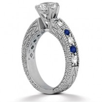 Diamond & Blue Sapphire Vintage Bridal Set 14k White Gold (2.80ct)
