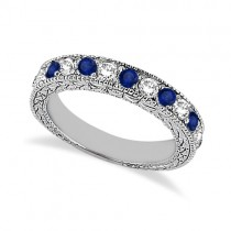 Antique Diamond & Blue Sapphire Wedding Ring 18kt White Gold (1.05ct)