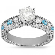 Antique Diamond & Blue Topaz Engagement Ring 18k White Gold (0.75ct)