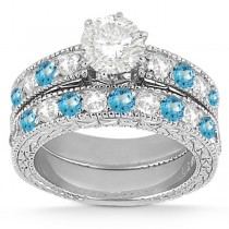 Antique Diamond & Blue Topaz Bridal Set Palladium (1.80ct)