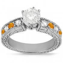 Antique Diamond & Citrine Engagement Ring 14k White Gold (0.75ct)