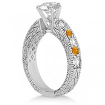 Antique Diamond & Citrine Engagement Ring 18k White Gold (0.75ct)